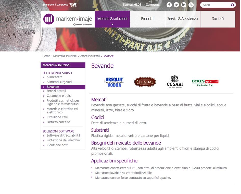 Online il nuovo sito web di markem imaje macchine for Sito web di progettazione edilizia