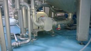 La pompa FL3 permette il pompaggio del succo di pomodoro all'interno di uno scambiatore di calore, con portate di 9000/10.000 litri/h, pressione di 5 bar, temperatura di 85°C