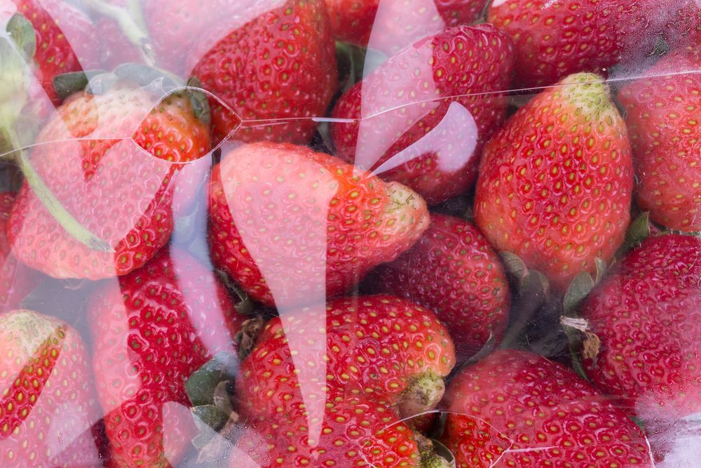 strawberry juicy fruit in plastic bag packaging