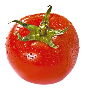 Fresh juicy tomato isolated over white