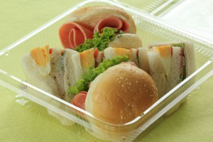 Hamburger and sandwich in box for take home