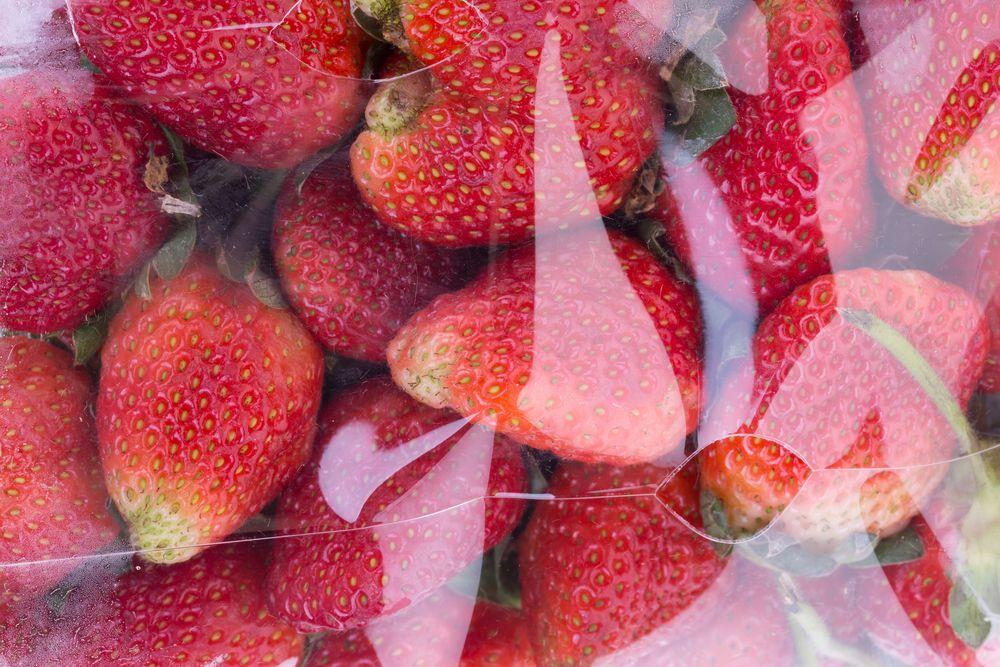 strawberry juicy fruit in plastic bag packaging